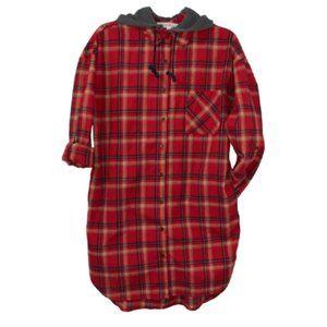 Love Tree Flannel Shirt Dress w/ Removable Hood